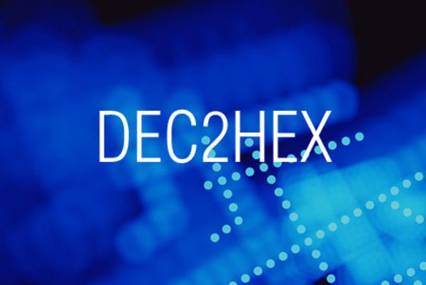 DEC2HEX関数で10進数表記を16進数表記に変換する