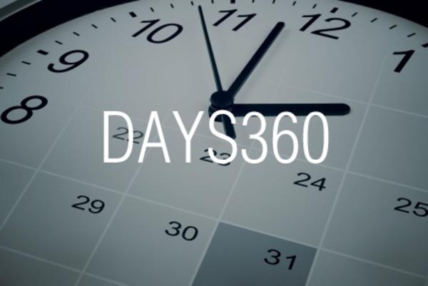 DAYS360関数で1年を360日として期間内の日数を求める
