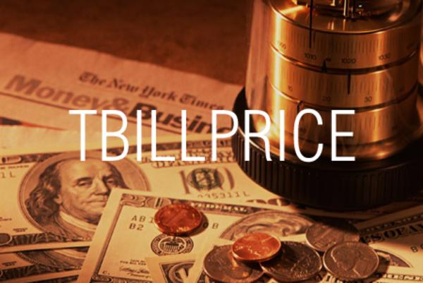 TBILLPRICE関数で米国財務省短期証券の現在価格を求める