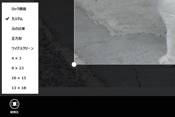 Windows 8.1の[フォト]アプリで比率を設定して写真を切り抜くには