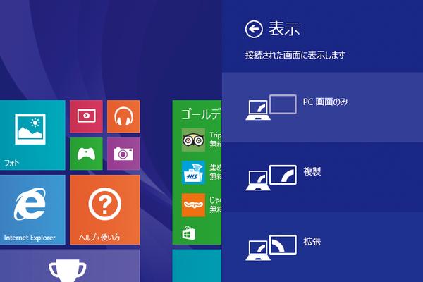 Windows 8.1の画面を2つのディスプレイで表示するには