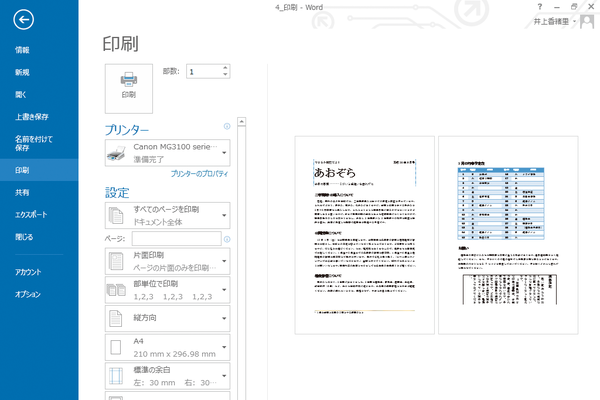 Wordで複数ページの印刷プレビューを表示する方法