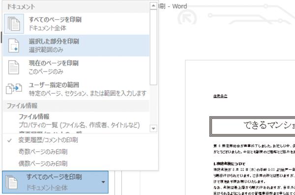 Word 2013で文書の一部分だけを印刷する方法