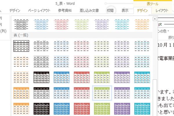 Wordの表を簡単に見栄えのするものに仕上げる方法