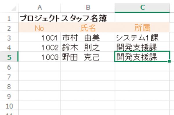 Excelで1つ上のセルと同じ内容を入力する方法