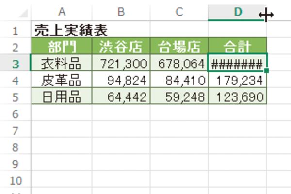 Excel で入力した数値が「####」と表示されてしまうときの対処方法