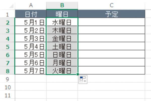 Excelで「月曜日」から「日曜日」までの連続データを簡単に入力する方法