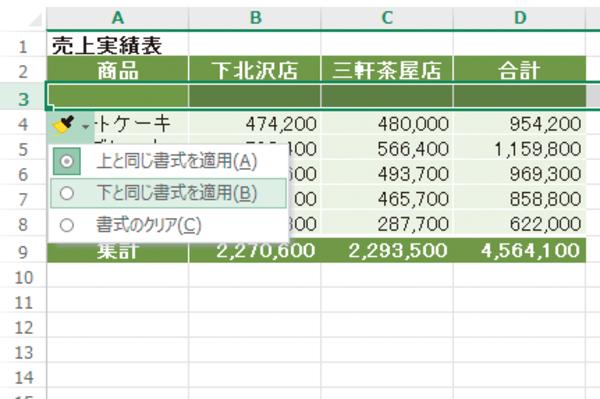 Excelの表に、下の行と同じ書式の行を挿入する方法