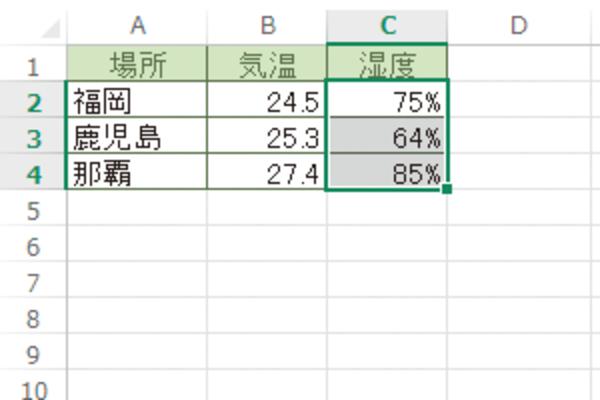 Excelのセルの数値をパーセント表示にする方法