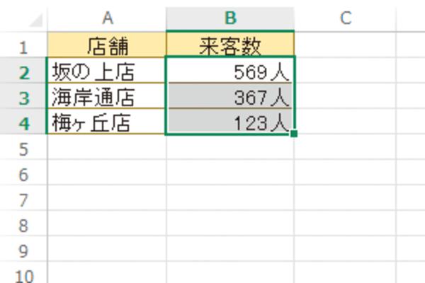 Excelで「10人」などのように数値に単位を付けて表示する方法