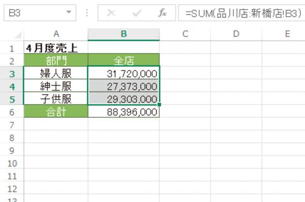 Excelの「3-D集計」で複数のワークシート上の同じレイアウトの表を集計する方法