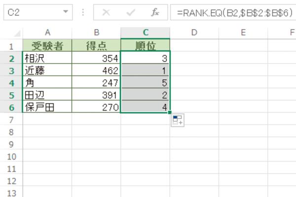Excelで選択した範囲のデータの順位を求める方法