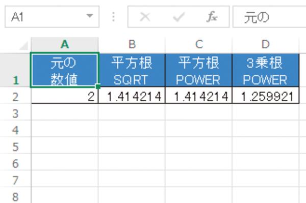 Excelで平方根を求める