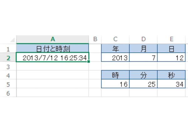 Excel関数で日付や時刻を年月日、時分秒に分ける