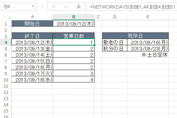 Excel関数で指定期間内の営業日数を求める