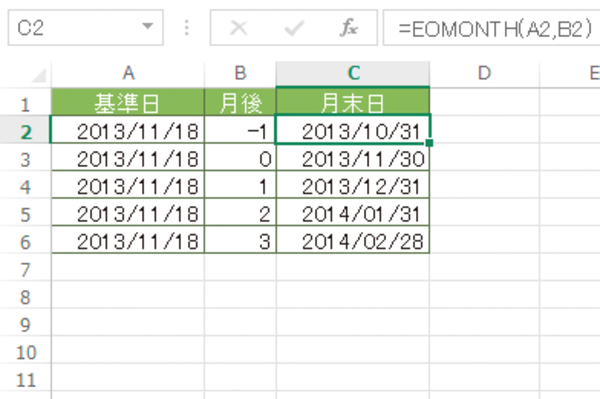 Excel関数で月末の日付を求める方法