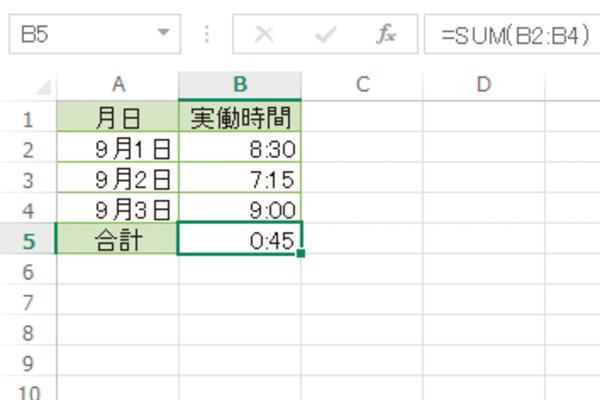 Excelで時間の合計を正しく表示する方法