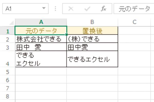 Excel関数でセル内の改行や文字列中の空白を取り除く方法