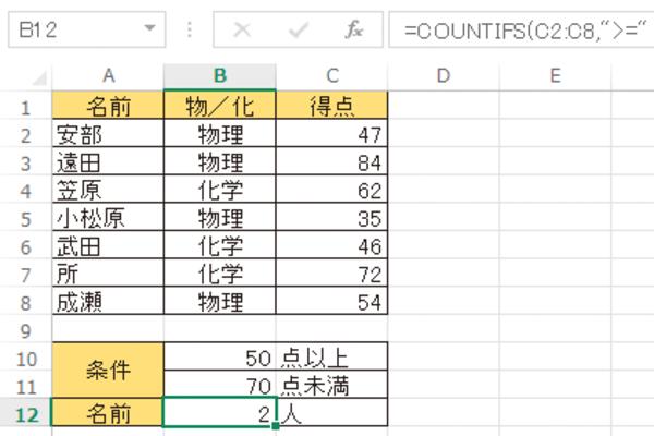Excel関数で「○以上△未満」の条件を満たすデータを数える方法