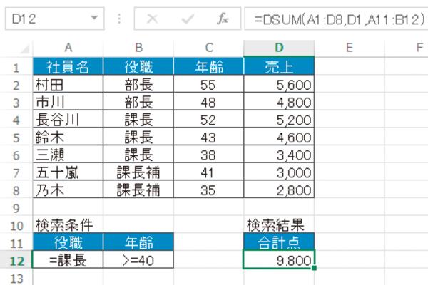 Excel関数で複雑な条件を入力して合致したデータを集計する方法