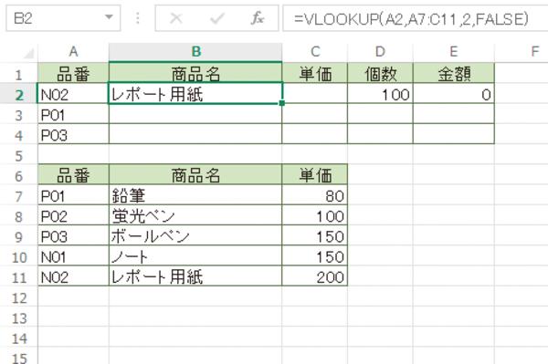 Excel関数で品番を検索して商品リストから商品名を取り出す方法