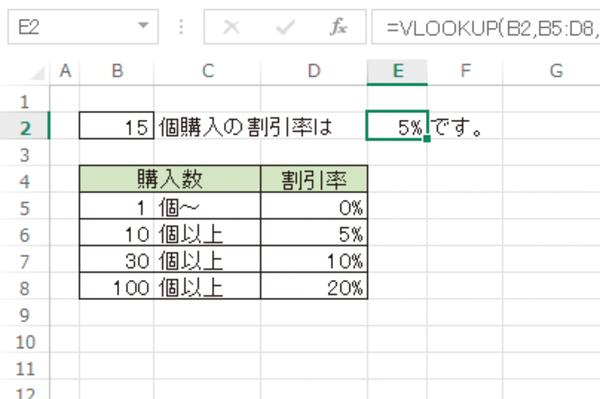 ExcelのVLOOKUP関数で「○以上△未満」の条件で表を検索する方法