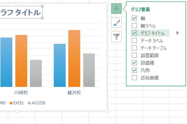 Excelの[グラフ要素]ボタンでグラフに表示する要素を切り替える方法