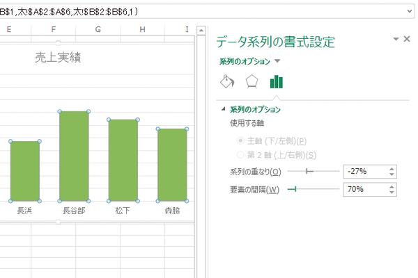 Excelで作成した棒グラフを太くする方法
