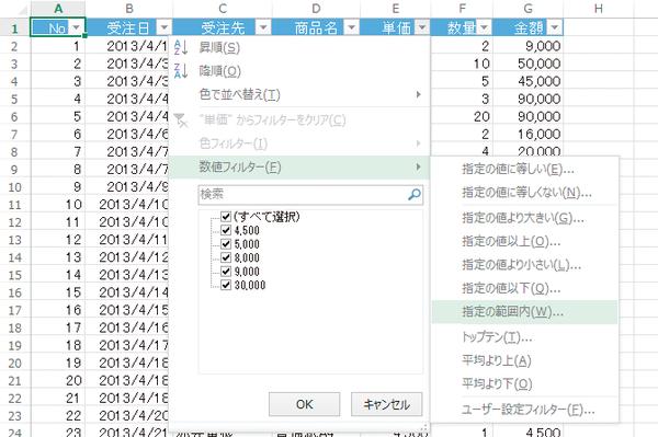 Excelのオートフィルターで「○以上△以下」のデータを抽出する方法