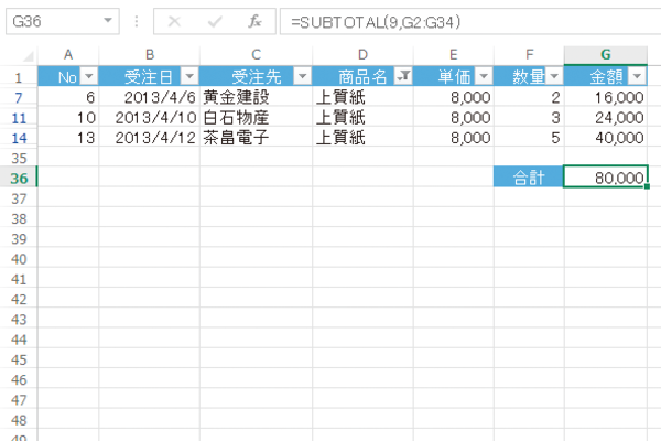 Excelのオートフィルターの抽出結果に連動して合計値を求める方法