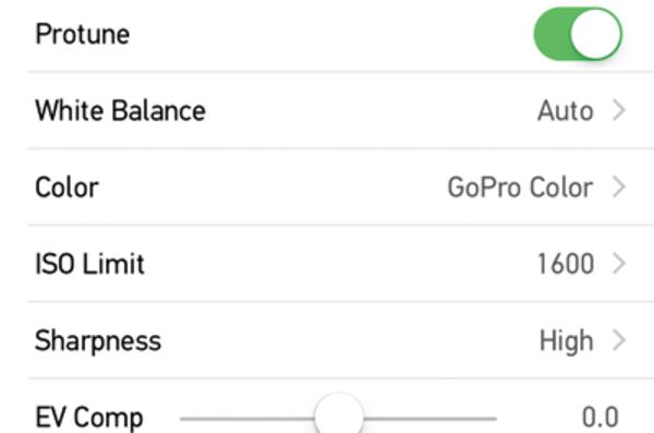GoProの「Protuneモード」での設定項目と効果