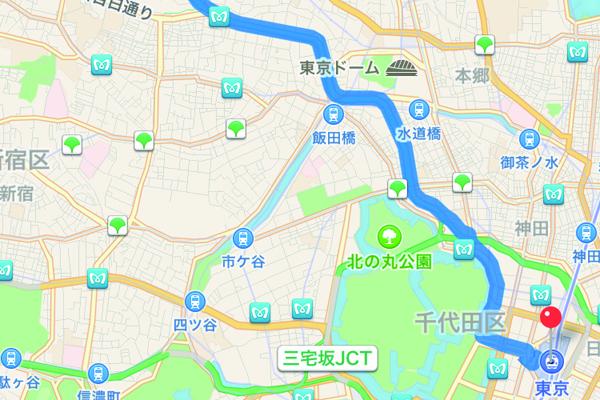 iPhoneの[マップ]で経路の全体図を確認する方法