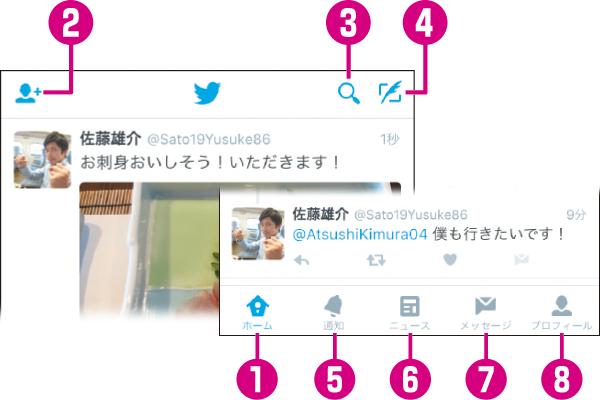 Twitterアプリの画面構成を確認する