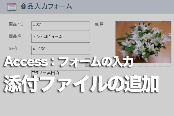 Accessのフォームで添付ファイル型のフィールドにデータを追加する方法