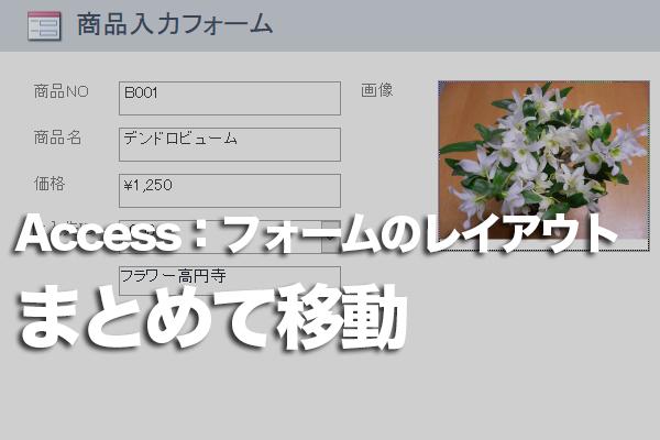 Accessのフォームのデザインビューでラベルとコントロールを同時に移動す