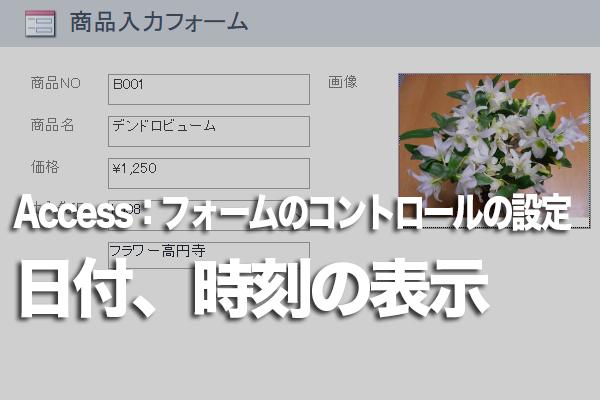 Accessのフォーム上に日付と時刻を表示する方法