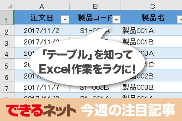 説明できる? Excelの「テーブル」3つのメリット【2017年12月7日~12月13日の注目記事】