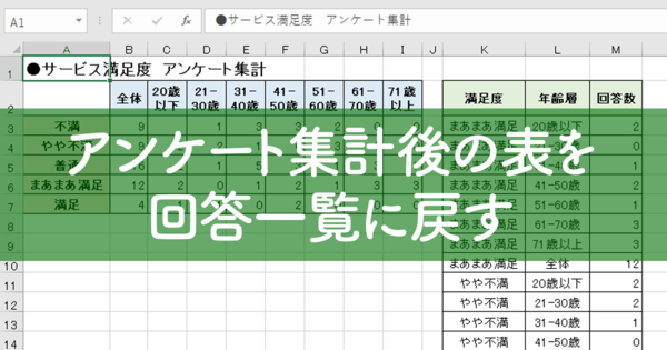 【エクセル時短】アンケート集計後のマトリクス表を回答一覧に戻すには? 「ピボットテーブルウィザード」の活用法