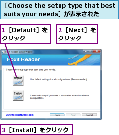 1[Default]をクリック,2[Next]をクリック,3[Install]をクリック,[Choose the setup type that best suits your needs]が表示された