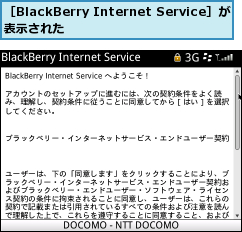 [BlackBerry Internet Service]が表示された
