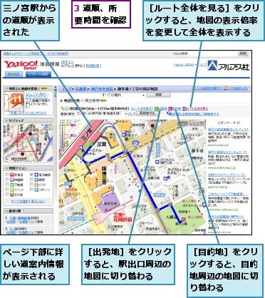 駅から目的地までの道順を確認するには | 検索 | できるネット