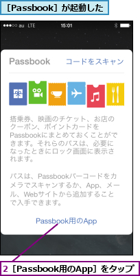 2[Passbook用のApp]をタップ    ,[Passbook]が起動した