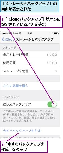 1[iCloudバックアップ]がオンに設定されていることを確認  ,2[今すぐバックアップを作成]をタップ    ,[ストレージとバックアップ]の画面が表示された