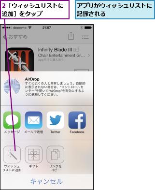 2[ウィッシュリストに追加]をタップ    ,アプリがウィッシュリストに記録される
