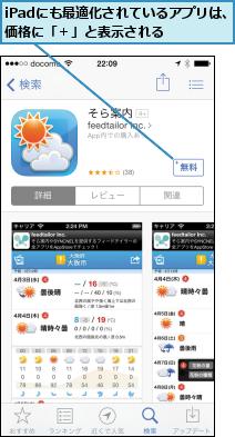 iPadにも最適化されているアプリは、価格に「+」と表示される