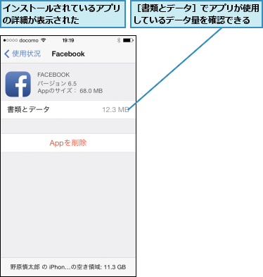 インストールされているアプリの詳細が表示された    ,[書類とデータ]でアプリが使用しているデータ量を確認できる