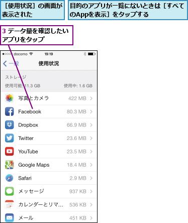 3 データ量を確認したいアプリをタップ    ,目的のアプリが一覧にないときは[すべてのAppを表示]をタップする    ,[使用状況]の画面が表示された