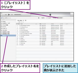 1[プレイリスト]をクリック      ,2 作成したプレイリスト名をクリック          ,プレイリストに追加した曲が表示された
