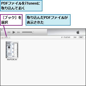 PDFファイルをiTunesに取り込んでおく  ,取り込んだPDFファイルが表示された      ,[ブック]を選択