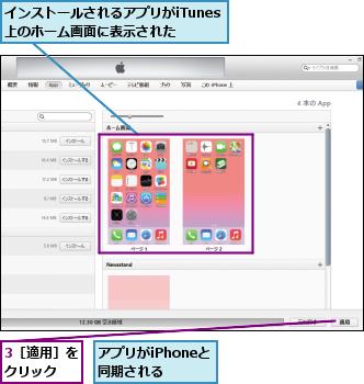 3[適用]をクリック  ,アプリがiPhoneと同期される  ,インストールされるアプリがiTunes上のホーム画面に表示された